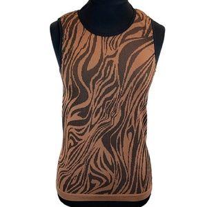 ATHLETA Brown Zebra Print Seamless Tank Top M